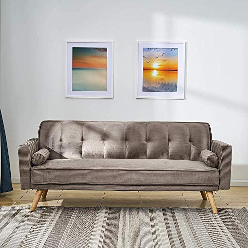 3 Sofá cama Línea tela Sofá Silla Larga Silla Sillón con 2 cojines gratis para sala de estar,Brown