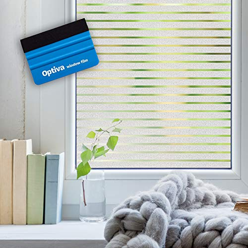 Optiva- Fensterfolie Selbsthaftend Blickdicht 45 cm x 200cm Sichtschutzfolie Fenster Sichtschutz gestreifte Mit Gratis Rakel