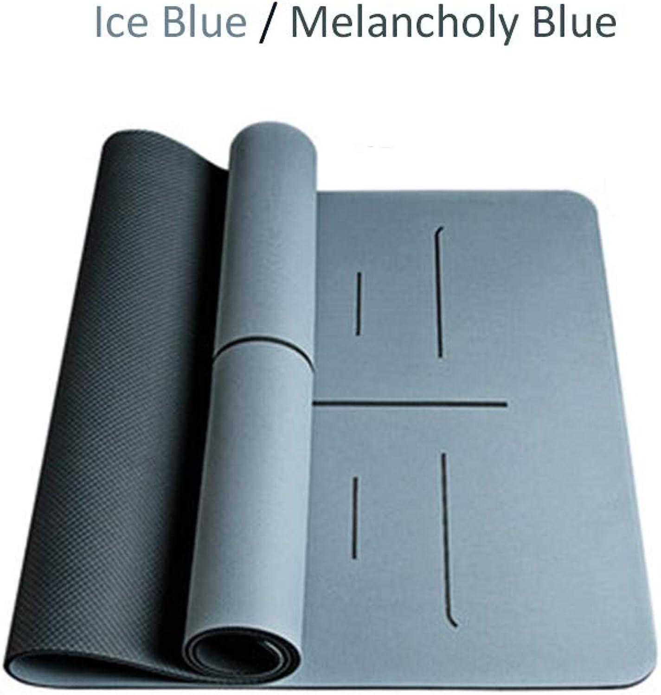 MAN-DI Zweifarbige Yogamatte, TPE umweltfreundliche 6   8mm Dicke reifeste, Rutschfeste, Sport- und Fitnessmatte, geeignet für alle Arten von Yoga, Bodenübungsmatte 72x31in,a,8mm