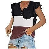Camiseta de manga corta para mujer, diseño de patchwork, para el día de San Valentín, estampado de corazón, para verano, manga corta Vino M