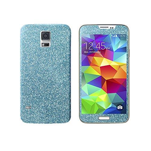 Luch Samsung Galaxy S5 Glitzerfolie Skin Diamond Shine Sticker Klebefolie Schutzfolie für die Vorder- und Rückseite, Hellblau