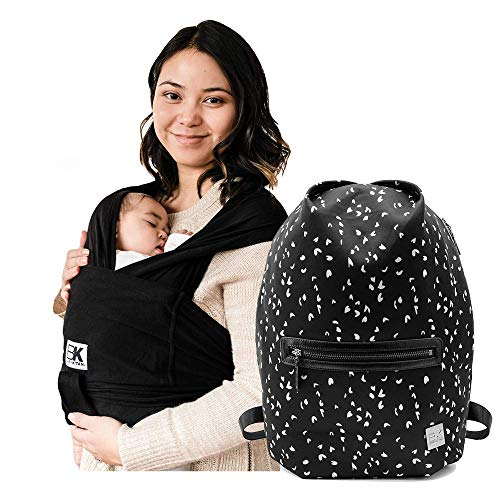 Baby K'tan Original Baby Wrap Carrier Black, XX-Small and Diaper Bag Sojourn, Sweetheart Black