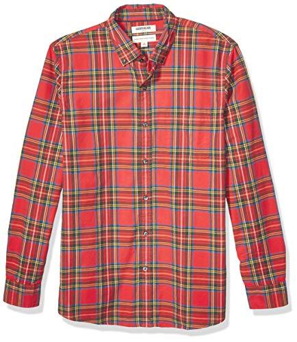 Goodthreads Standard-fit Long-Sleeve Plaid Oxford Shirt Camisa abotonada, Bright Red Tartan, XXL