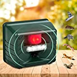 Allinall Animal Repeller, Ultrasonic Pest Animal Repellent Outdoor Dog Cat Repellent with LED Flash Lights and Alarm, Yard Guard Mice Rat Deterrent Rodent Repellent,Repel Deer,Squirrel,Fox,Bird,Skunks