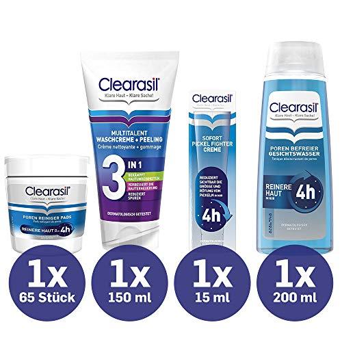 Clearasil Poren Reiniger Pads 65 Stück + Clearasil Sofort Pickel Fighter Creme 15 ml + Clearasil Multitalent Waschcreme und Peeling 150 ml + Clearasil Poren Befreier Gesichtswasser 200 ml
