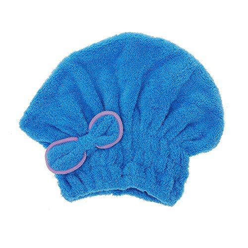 TOOGOO(R)util sombrero de seco pelo de microfiber seco rapido toalla de pelo enrollada gorra de natacion Azul