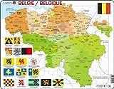 Larsen K59 Belgien Politische Karte, Mehrsprachig (Niederländisch/Französisch) Ausgabe, Rahmenpuzzle mit 48 Teilen