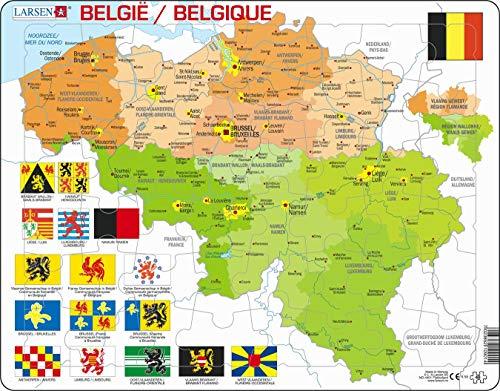 Larsen K59 Mapa Político de Bélgica, edición en Multilingüe (Holandés/Francés), Puzzle de Marco con 48 Piezas