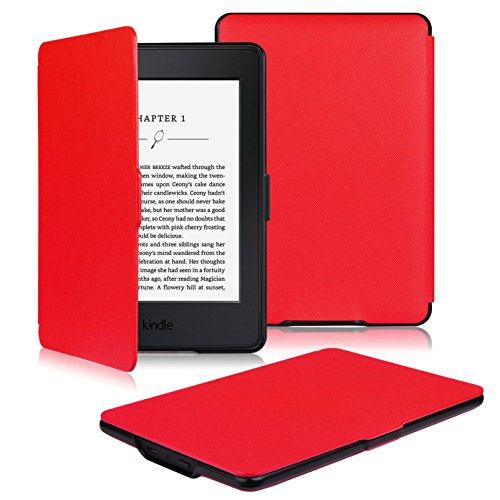 OMOTON Kindle Paperwhite Case Cover - The Thinnest Lightest PU Leather Smart Cover Kindle Paperwhite fits All Paperwhite Generations Prior to 2018 (Will not fit All New Paperwhite 10th Gen), Red