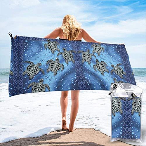 FLDONG Toalla de secado rápido con estampado de tortuga de mar de microfibra, ultra suave, compacta, adecuada para camping, gimnasio, playa, hogar, 81.5 x 163 cm