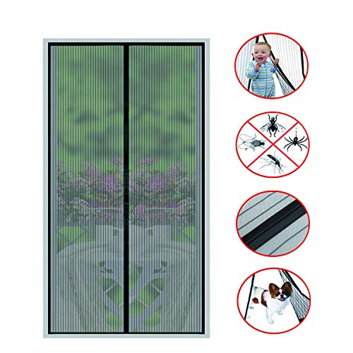 Magnetic Screen Door-26 Strong Magnets-Full Frame Magic Adhesive-Easy Open and Close-Fresh Air in-Keep Mosquitoes Out-Pet Friendly-Hands Free-Fits Door Size up to 36 X 82 Inches