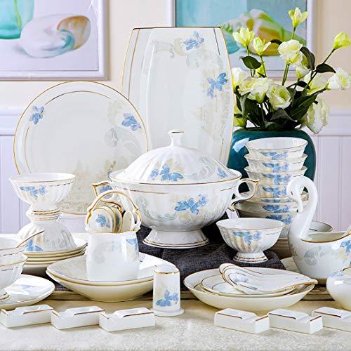 MMFXUE Servizio da tavola in Porcellana Bianca Avorio da 60 Pezzi , Set da tavola in Ceramica con scodelle, Piatti da Dessert, Piatti da minestra, Piatti da Pranzo