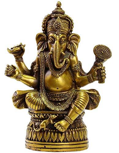 Brass Ganapati Ganesh Lord Ganesha Elephant Buddha Statue