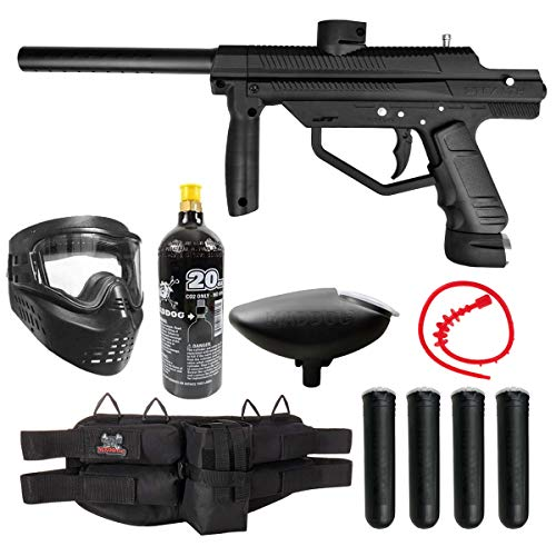 Maddog JT Stealth Semi-Automatic .68 Caliber Silver CO2 Paintball Gun Starter Package - Black