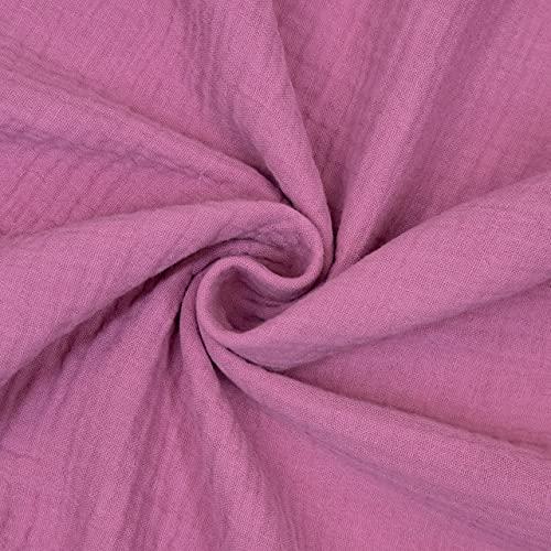 Tela de algodón de muselina doble, color frambuesa – Precio por 0,5 metros