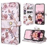 Dracool für Samsung Galaxy S20 FE 4Gund5G 6.5 Zoll Hülle Handyhülle Premium Leder Flip Wallet Hülle für Mädchen mit 10 Kartenfach Magnet Lederhülle Klapphülle Schutzhülle - Rose Gold Blumen Marmor