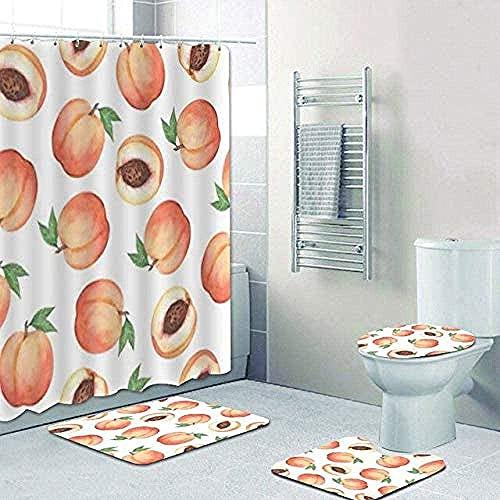 Mode Aquarell Obst Pfirsichblüte Duschvorhang Badematte Teppich Set Badezimmer Vorhang Pfirsichblüte Kunst Badewanne Badezimmer Dekoration 180x180cm