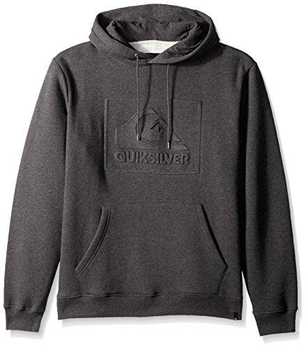 Quiksilver Men's Box Spray Hooded Sweatshirt, Dark Grey Heather, Large