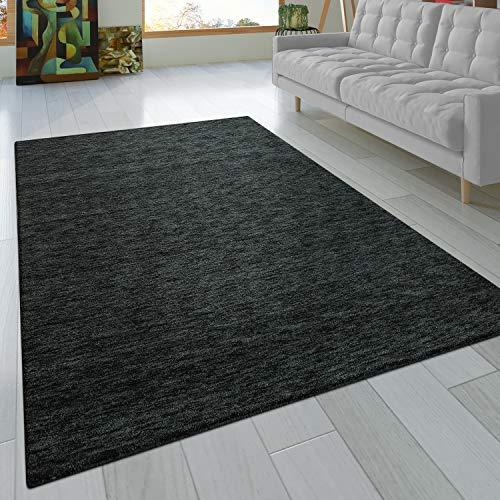 Paco Home Teppich Handgeknotet Gabbeh Hochwertig 100% Wolle Dezent Meliert Anthrazit, Grösse:160x230 cm