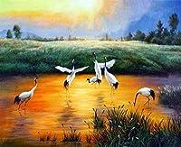 NYIXIA 数字油絵 フレーム付き 、数字キット塗り絵 手塗り DIY絵、湖のシベリアクレーン、初心者 子供と大人のためのキャンバス油絵キット、数字キットによるペイント - 40*50cm