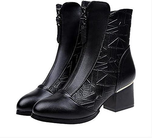 KHSKX-Dans Le High-Heel chaussures Avec épais Avec Femme Martin Bottes Courtes Bottes Courtes Et La Version Coréenne De La Peluche Bottes Nu