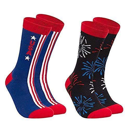 Patriotic Crew Socks for Memorial Day, Election Day, 4th of July (Adult, 2-Pair)