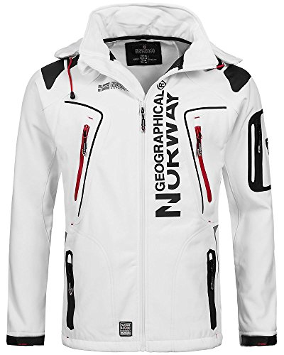 Geographical Norway Techno - Chaqueta flexible para hombre, con capucha desmontable, Hombre, blanco, medium