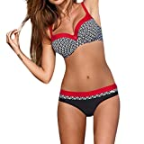 OHQ Traje De BañO para Mujeres Traje De BañO De Bikini con Estampado De Mujer Sujetador Acolchado para Mujer Bikini Set Traje De BañO Moda De Verano (XL, Rojo)