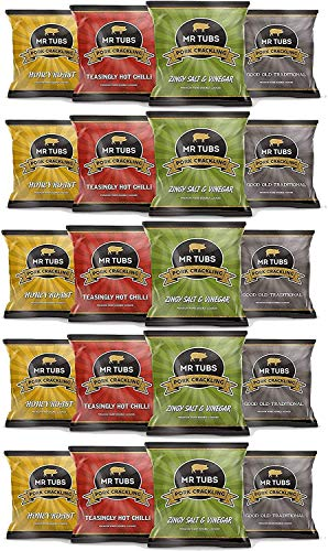 Mr Tubs Premium Double Hand Cooked Pork Crackling - Mixed Pack Foil Bags (20 Pack)
