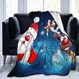 Manta de franela de feliz Navidad Santa Claus Ciervos, ligera, acogedora, manta suave para sofá adecuado para todas las estaciones para niños, mujeres y hombres pequeños (40 x 50 pulgadas)