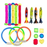Diving Pool Toys for Kids, Underwater Summer Swimming Pool Toys Set with Dive Rings, Diving Sticks, Octopus, Fish Toys, Pirate Treasure for Toddler Boys Girls Swimming Pool Game