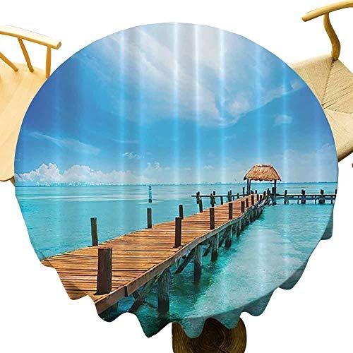 Mantel redondo con diseño de océano náutico, de madera ornamentado, muelle de Maldivas Isla Tropical costera, cenador de cabaña, tema Beac Celebración festival azul turquesa diámetro 51 pulgadas