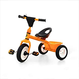 Tricycle Bicycle, Boy Girl Bicycle Titanium Free Wheel Convenient Smart Second Hand Quick Disassembly Tricycle (Orange, Red) HS-01 (Color : Orange)