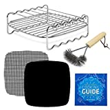 Air Fryer Rack Accessories Compatible with Power Airfryer Oven Vortex, Bagotte, Master Culinary, Paula Deen, Philips, Yedi, Secura, +More | Skewer + Kebab Accessory for Cooking + Grilling