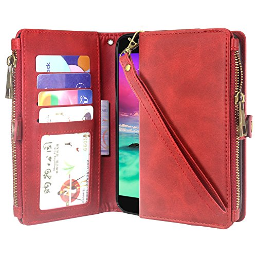 Linkertech LG K20 V Case, LG K20 Plus Case, LG Harmony Case, Premium Leather Flip Zipper Wallet Case Cover with Card Holder & Wrist Strap for LG Grace/LG K10 2017 / LG V5 (Zipper Red)