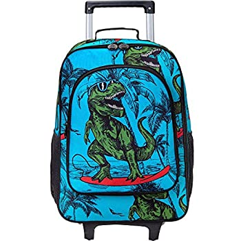 Kids Suitcase Rolling Luggage with Wheels for Boys - Dinosaur