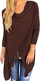 Wintialy Women Long Sleeve Tassel Hem Crew Neck Knited Cardigan Blouse Tops Shirt