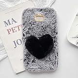 YHY Plush Heart Shaped Style Elegante Funda para Teléfono Móvil para Samsung Galaxy A3 2017 TPU Silicone Anti Fall Warm Cover Gris Oscuro