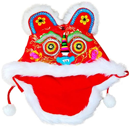 CRB Fashion Girl Boy Baby Toddler Children Kids Festive Lion Asian Chinese Birthday Party Celebration Tradition Costume Cap Hat (1 to 4 Years Old, Red)