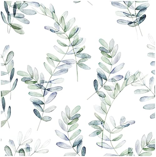 Blooming Wall DPY51 Removable Watercolor Boho Fresh Leaves Textured Peel and Stick Wallpaper Self-Adhesive Prepasted Wallpaper Wall Mural Wall Decor