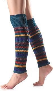 Ssowun, Mujer Invierno Calcetines de Punto de Lana Rayas horizontales Calcetines Calientes Rodilleras