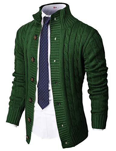 H2H Mens Casual Slim Fit Cardigan Sweater Cable Knitted Button Down Stand Collar Green US XL/Asia 2XL (CMOCAL035)
