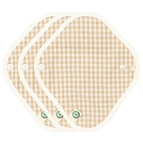 think ECO [3-Pads] Organic Reusable Cotton Cloth Panty Liiner Pads, Menstrual Liner Pads, Sanitary Napkins, Three Pads Set (Panty Liner)