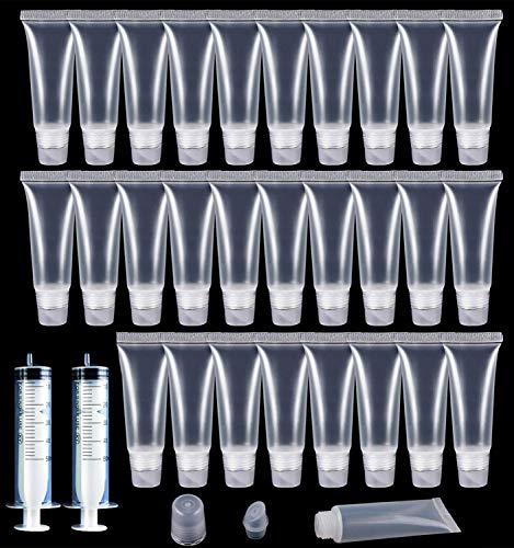 30pcs gloss tubes 10ml tubes cosmétiques en vrac clairs vides lèvre baume récipients rechargeables, mini-tubes cosmétiques doux avec la seringue de 2pcs pour cosmétique de maquillage diy