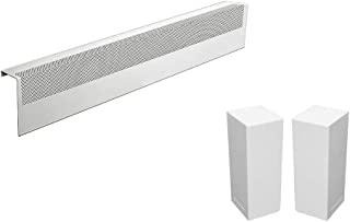Basic Series Galvanized Steel Easy Slip-On Baseboard Heater Cover in White (3 ft, Cover + L&R End Caps)