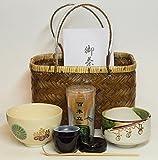 手提竹籠 野点茶道具セット 仁清写小茶碗:帯菊桐絵茶碗