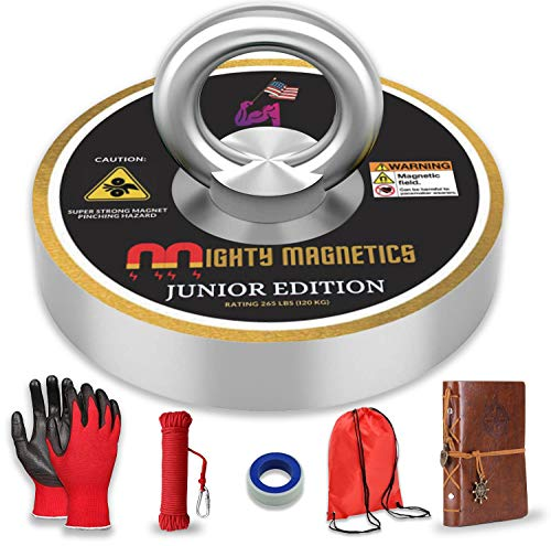 265 Lbs Magnet Fishing Kit for Kids with Journal,Gloves,Rope,Carabiner,KIT Bag - Complete Kit | Neodymium Outdoor Birthday Gift Water Toys for Boys, Girls Ages 7 8 9 10 11 12 13 14