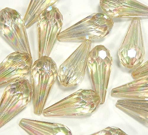 Lot de 20 Perles en Plastique de Luxe Cristal AB Transparent en Acrylique 25 mm x 11 mm Goutte en Plastique facetté Perle pour la décoration Bricolage Bijoux D128