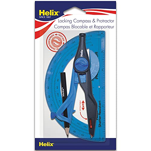 Helix Universal Locking Compass and Protractor Set, Assorted Colors (18803)