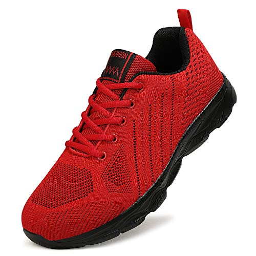 ZPAWDH Zapatillas Running Hombre Mujer Zapatos Deporte Correr Fitness Sneakers(42EU,Red Black)